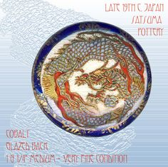 Image Copyright RC Larner ~ Exquisite Late 19th C. Japanese Satsuma Pottery Light Blue Dragon Button ~ R C Larner Buttons at eBay & Etsy        http://stores.ebay.com/RC-LARNER-BUTTONS