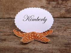 Natural Sugar Starfish Shell Place Card Name by BeachyChicDecor, $18.95