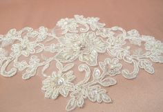Rhinestone and Pearl Lace Applique Bridal Applique by gebridal, $12.00