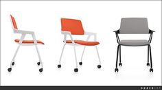 ovy orange and white castor chairs