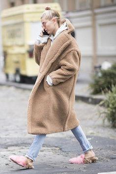 Hailey Baldwin wearing Gucci Princetown Merino Slippers and Max Mara Aurelia Coat