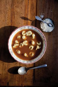 Beef Broth with Tortellini and Parmesan (Brodo)