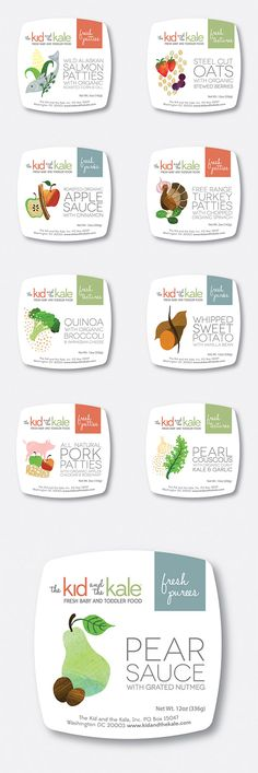 The Kid and the Kale Packaging, Baby Food, Toddler Food, Fresh Puree, Fresh Patties, Fresh Textures, Organic, Free Range, All Natural | Torie Partridge: Cherry Blossom Creative