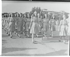 Girls of the Women's Auxiliary Service of Manila, are shown marching in the Commonwealth Parade. These girls would assist in Red Cross work and the evacuation of refugees in the event of hostilities. Red Cross, Commonwealth, Pinoy, These Girls, Manila, Old Pictures, Filipino, Philippines, Sailor