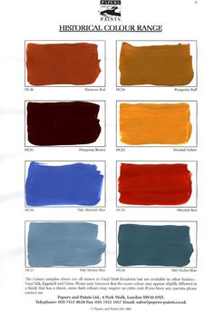 Paint Colors Between 1650 and 1850, based off a published book from the firm of paintmakers called Thomas Parsons and Sons Ltd. in 1934. The publication was called A Tint Book of Historical Colours, and featured 136 colours in 'family' groups such as: Colours of Egypt, Pompeian Colours, Mortlake Tapestry Colours and Wedgwood Colours    ...BTW,Please Check this out:  http://artcaffeine.imobileappsys.com