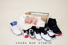 newborn, baby boy, future basketball player, heart breaker, newborn photography, baby in a box, air jordan, shoes, sneakers   © www.sararadstudio.com