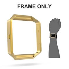 UMTELE Replacement Accessory Stainless Steel Frame Housing for Fitbit Blaze Smart Watch Gold *** To view further for this item, visit the image link.