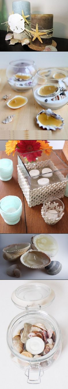 DIY candle holder in beach style