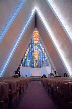 The Arctic Cathedral (Evangelical Lutheran) in Tromso, Norway Church Architecture, Amazing Architecture, Architecture Design, Arctic Cruise, Modern Church, Visit Norway, Tromso, Nature View, Cathedral Church
