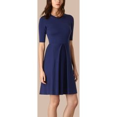 Burberry Knitted Silk Wool Dress (52.160 RUB) ❤ liked on Polyvore featuring dresses, burberry, tight blue dress, silk dress, woolen dress and blue fitted dress