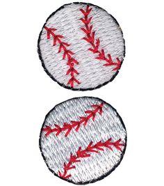 Wrights Iron-On Appliques-Baseball 2/Pkg