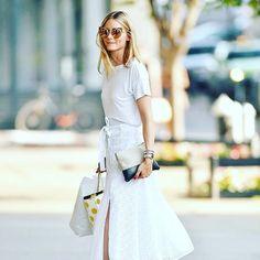 #Tshirt Chic: #OliviaPalermo SHOP HER LOOK: ReferStyle.com #CelebrityStyle #fashion #bag #laceskirt #oliviapalermostyle #sunglasses #whitetshirt #shopping #liketkit