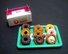 Dollhouse Miniature Assorted Donut Take-Away Set and Box, 1:6 scale, dolls, fake food, pastry, Cafe, Bakery, Corner Store, Mini Collectible