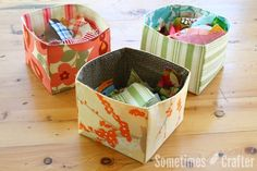 "I thought I'd share with you how to make my fabric scrap ""basket"". It's VERY simple. I whipped out another two baskets in no time at all. Now I have all of my smaller scraps organized into small, m…"