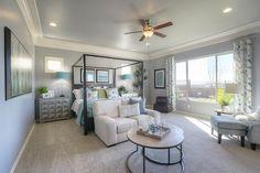 Gehan Homes - Master Bedroom Phoenix, Arizona   Palazzo at Estrella - Granada Canopy bed, modern canopy, iron, mixed metals, white and blue, large windows, crown molding #Gehanhomes