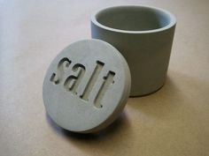 Hand-poured concrete salt cellar with lid by Kreteware $40