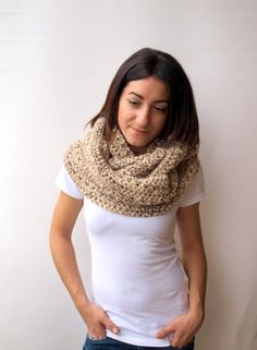 Camel cream Infinitive Scarf Women's chunky scarf by elenis4you, $32.34