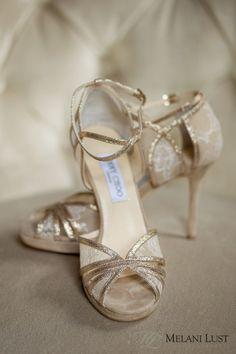 Jimmy Choo Wedding Shoes in gold lace. Gorgeous! ©MelaniLustPhotography