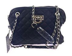NB24 Tasche (3433), Damentasche, Schultertasche, Umhängetasche, Abendtasche, schwarz mit silbernen Zierelementen, gesteppt, ca. 29 x 6 x 21 cm, mit Reißverschluss