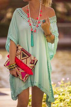 Beach style tunic in lovely turquoise