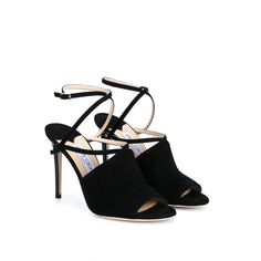 JIMMY CHOO Flora Suede Sandals (12.760 ARS) ❤ liked on Polyvore featuring shoes, sandals, suede sandals, ankle strap sandals, open toe sandals, stiletto sandals and black shoes