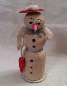 Old Vintage Antique Spun Cotton Christmas Lady Snowmen Christmas Ornament 1920s