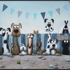 Those guilty faces!! 'No Ball Games' by #artist #simonclarke so funny #dogsofinstagram