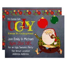 FUNNY UGLY SWEATER Christmas Invite Chalkboard - christmas cards merry xmas diy cyo greetings