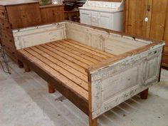 Daybed made from antique house parts. Love. @nikki striefler striefler Sebesta, this would be GREAT on a porch!!