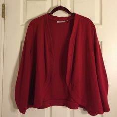 Susan Graver red bolero This red bolero is polyester and rayon but feels and looks like cotton knit. Very nice. Excellent condition. Susan Graver Tops