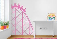 Roller Coaster Wall Decal Vinyl Wall Decals, Wall Stickers, Funky Bedroom, Kids Wall Decor, Girl Decor, Roller Coaster, Little Girls, Hand Painted, Painting