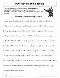 Third Grade Spelling Punctuation Worksheets: Proofreading Practice: Punctuation and Spelling
