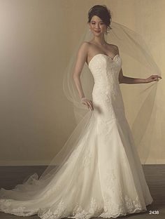 Alfred Angelo Style 2438: Strapless lace fit and flare wedding dress with sweetheart neckline and flared skirt