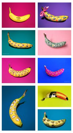Every banana has a simple and unique canvas, and every banana is different. Banana Beach, Banana Art, Fruit Art, Color Photography, Creative Food, Projects For Kids, Cute Art, Art Pictures, Art Inspo