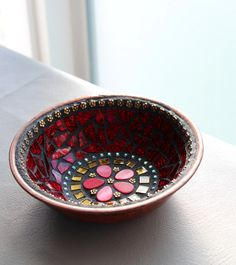 Mosaic Jewelry Keys Dish / Bowl - in Hot Cherry Red. $29.95, via Etsy.