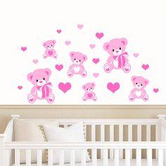Teddy Bears & Hearts  Pink Girls  Childrens by RubybloomDesignsLtd