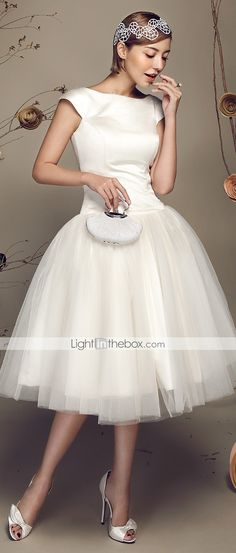 Wedding Dress Ball Gown Knee Length Satin Tulle   Can I wear this just because? LOVE
