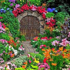 Beautiful gate and Colorful flowers in garden