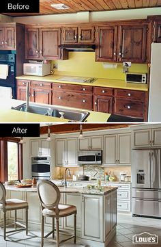 From dated and dark to chic and bright, this kitchen is barely recognizable. This kitchen was designed and remodeled through Lowe's of Montgomeryville, PA. Click this pin to learn more about installation services.