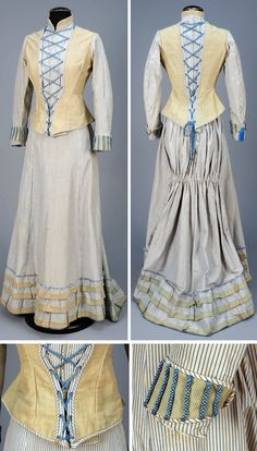 Day dress ca. 1880. Silk & alpaca. Long bodice in cream with blue striped silk. Faux vest, stand collar, and shaped cuff of straw-colored dobby weave. Heavy blue silk braided front laces, faux back laces and cuff decoration; flannel lining. Slightly trained full skirt with back ruching. Stiffened hem has deep ruffle trimmed with 3 dobby bands. Lined in glazed cotton. Whitaker Auctions