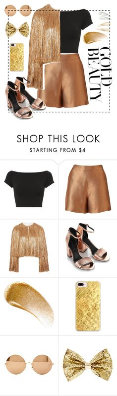 """""""Gold beauty"""" by hennyyyy ❤ liked on Polyvore featuring Helmut Lang, Witchery, Givenchy, Alexander Wang, BBrowBar, Casetify, Victoria Beckham and Kitsch"""