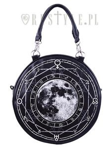 """LUNA ROUND BAG"" Black, witchy purse, full moon print"