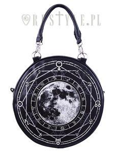 """LUNA ROUND BAG"" Black, witchy purse, full moon print"