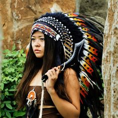 Native American Headdress  Indian Bonnet  Medium length by DonHuan