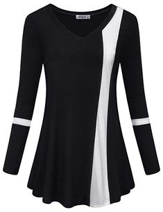 online shopping for MOQIVGI Womens Long Sleeve V Neck Color Block Blouse Casual Flowy Tunic Tops from top store. See new offer for MOQIVGI Womens Long Sleeve V Neck Color Block Blouse Casual Flowy Tunic Tops Urban Fashion Women, Fashion For Petite Women, Tops Online Shopping, Fall Shirts, Long Sleeve Tops, Tunic Tops, Clothes, Casual, Color