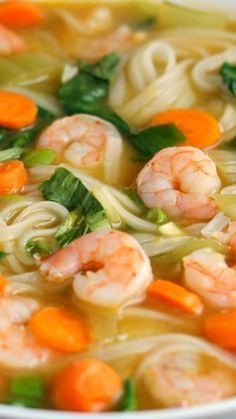 Asian Noodle Soup with Shrimp ~ If you prefer, you can make it with chicken inst… - Chinese shrimp noodles Chinese Soup Recipes, Seafood Soup Recipes, Easy Soup Recipes, Shrimp Recipes, Asian Recipes, Cooking Recipes, Healthy Recipes, Asian Desserts, Healthy Food
