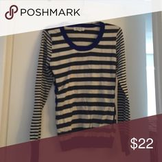 Sweater Blue,grey, and white striped sweater Pink Rose Sweaters Crew & Scoop Necks