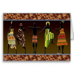 African Tribal Foot Stomp, Greeting Card