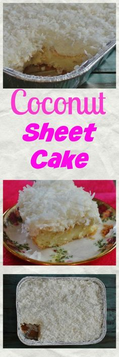 Coconut Sheet Cake. A moist, dense cake with a pound cake texture, cream cheese icing and coconut topping.