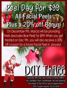 Day 3 of our 12 Days of Deals! $99 Peels plus 20% off BONUS! http://www.mackmd.com/12-days-of-deals-2013/ Tampa, FL